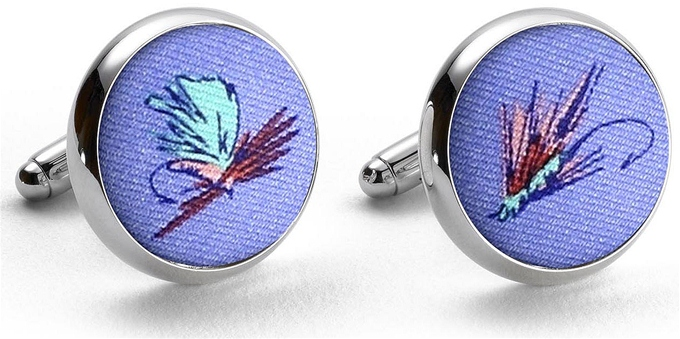 Hooked on Flies: Cufflinks - Light Blue