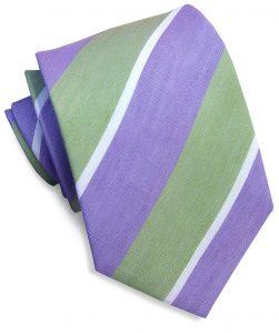 Linen Stripe: Tie - Lime/Violet