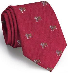 Bulldog English Woven Pedigree: Tie - Red