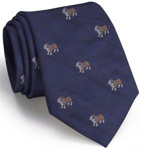 Bulldog English Woven Pedigree: Tie - Navy