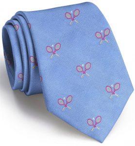 Tennis Racket English Woven Pedigree: Tie - Blue