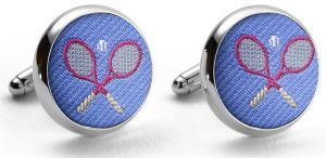 Pedigree Tennis Racket: Cufflinks - Blue