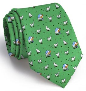 Fox in the Hen House: Tie - Green with Blue