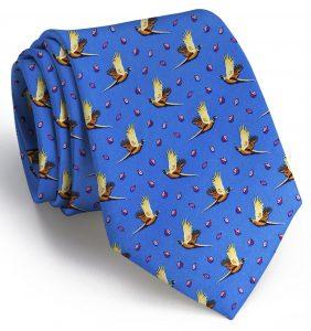 Pheasantly Surprised: Tie - Blue