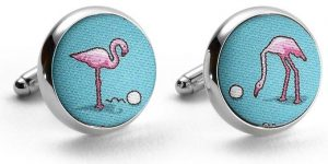 Flamingo Fairway: Cufflinks - Turquoise