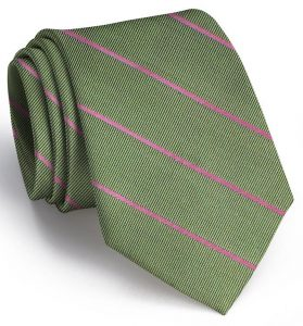Sheffield Stripe: Tie - Olive/Pink