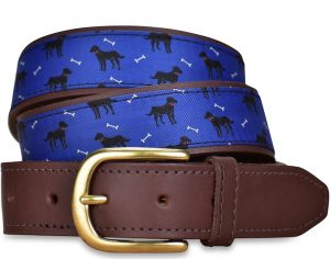 Black Labradors: Pedigree English Woven Belt - Blue