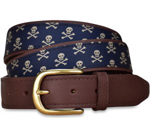 Skull & Crossbones: Pedigree English Woven Belt - Navy