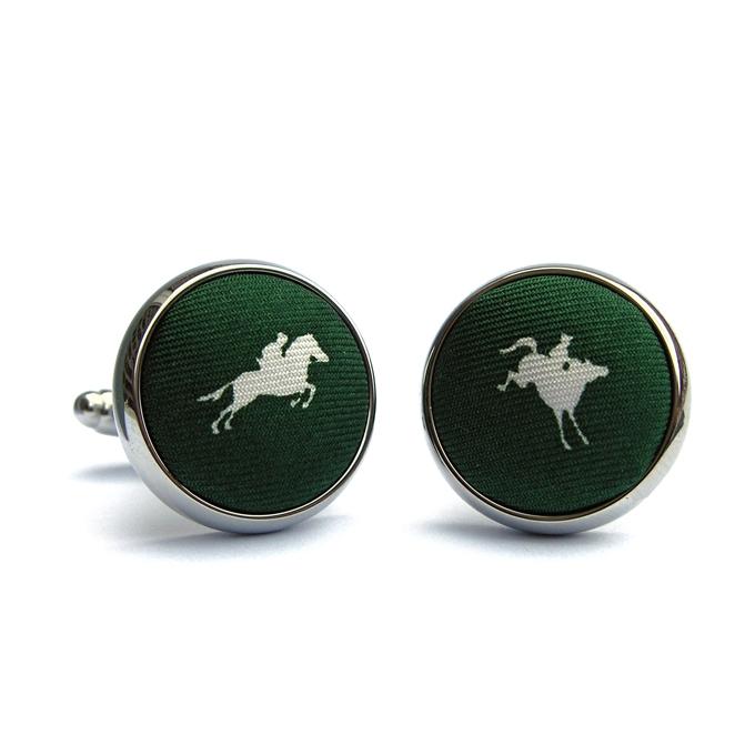 Equestrian Spot: Cufflinks - Green