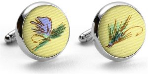 Hooked on Flies: Cufflinks - Yellow