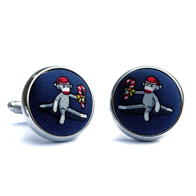 Xmas Monkey: Navy (Cufflinks)