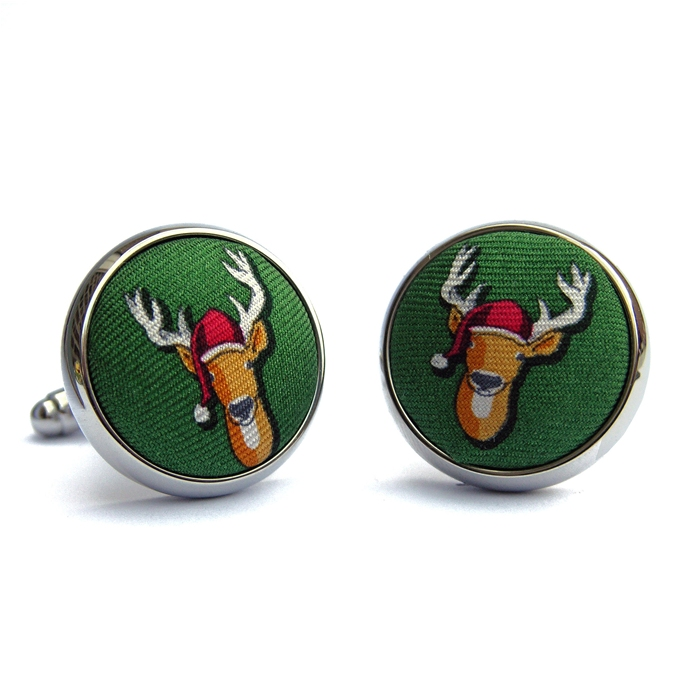 Santa Stags: Cufflinks - Green