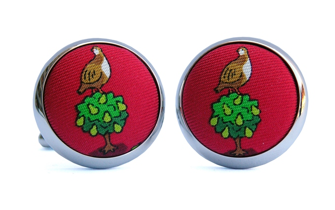 Partridge In A Pear Tree: Cufflinks - Red