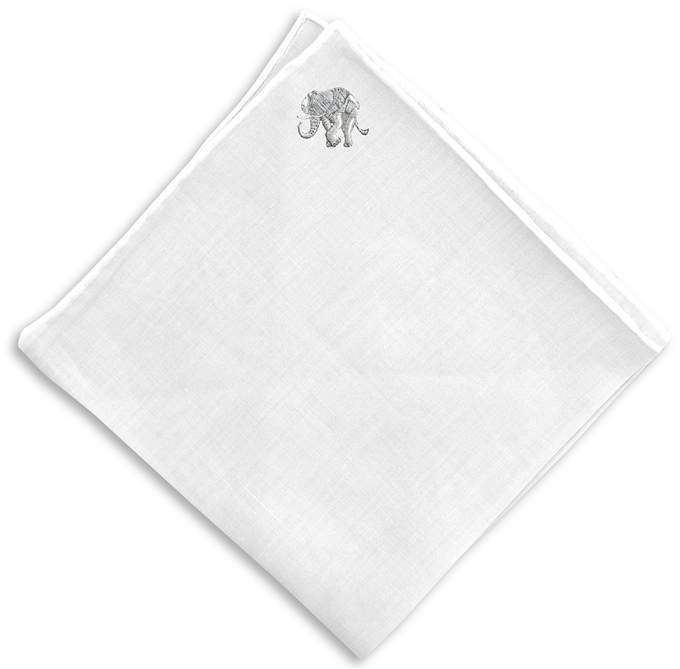 Lucky Elephant: White Linen Pocket