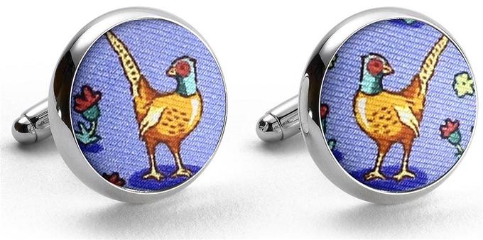 Pheasant Fields: Cufflinks - Blue