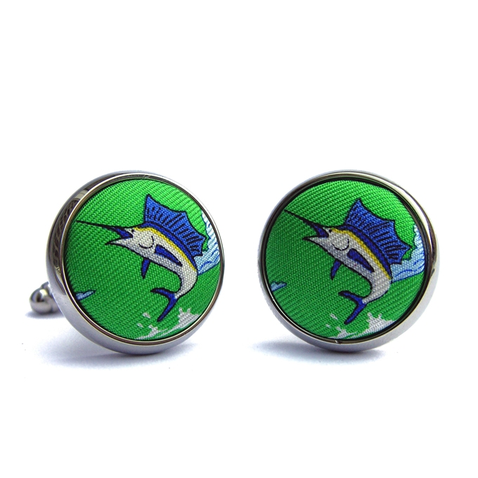 Blue Marlin: Cufflinks - Lime