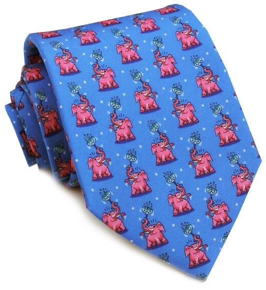 Pink Elephant: Tie - Mid-Blue