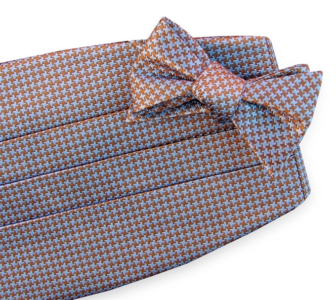Houndstooth: Cummerbund - Brown/Blue
