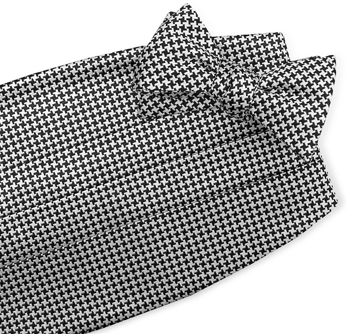 Houndstooth: Cummerbund - Black/White