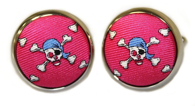 Jolly Roger: Cufflinks - Fuchsia