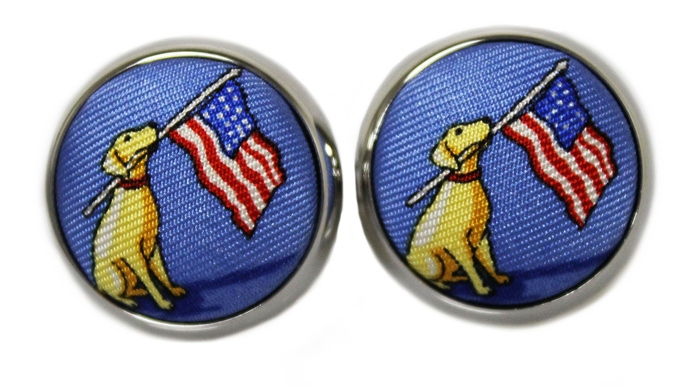 Dogs Love America: Cufflinks - Blue