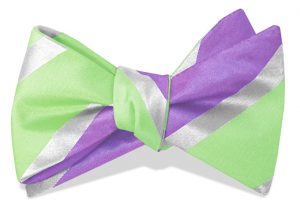 Linen Stripe: Bow - Lime/Violet