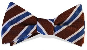 Debonair Stripe: Bow - Brown/Blue