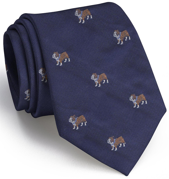 Bulldog English Woven Pedigree: Tie - Navy