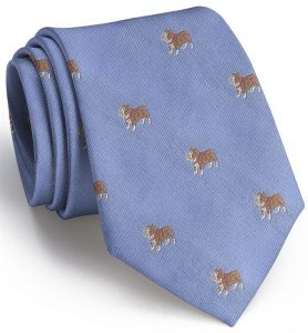 Bulldog English Woven Pedigree: Tie - Blue