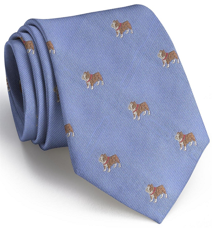 Bulldog English Woven Pedigree: Tie - Blue