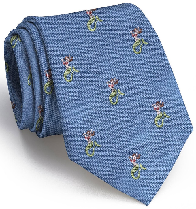 Mermaid English Woven Pedigree: Tie - Blue