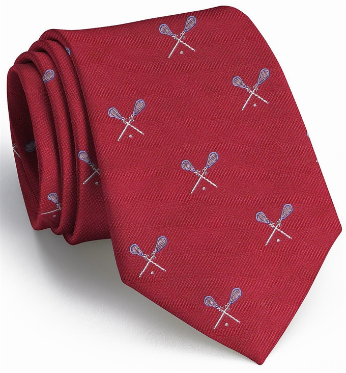 Lacrosse English Woven Pedigree: Tie - Red