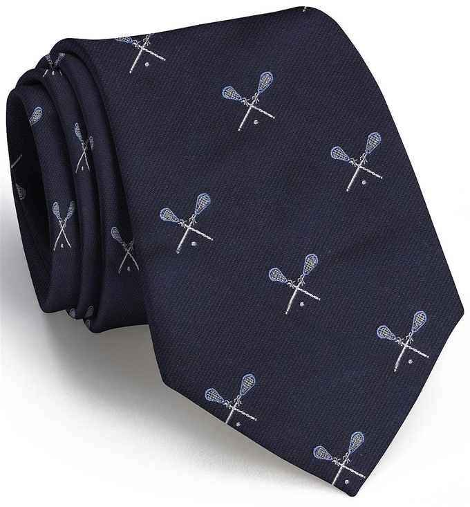 Lacrosse English Woven Pedigree: Tie - Navy