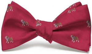 Bulldog English Woven Pedigree: Bow - Red