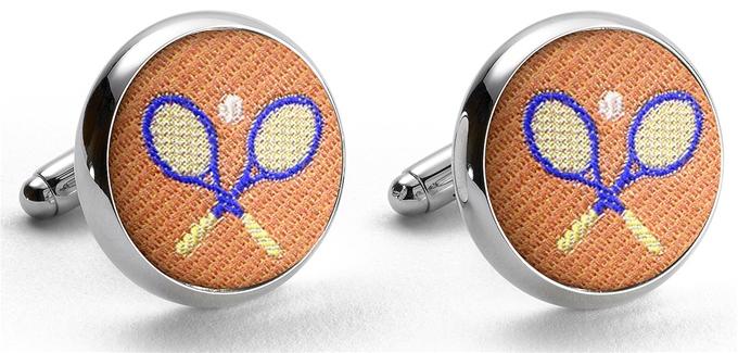 Pedigree Tennis Racket: Cufflinks - Orange