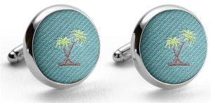 Pedigree Palm Trees: Cufflinks - Aqua