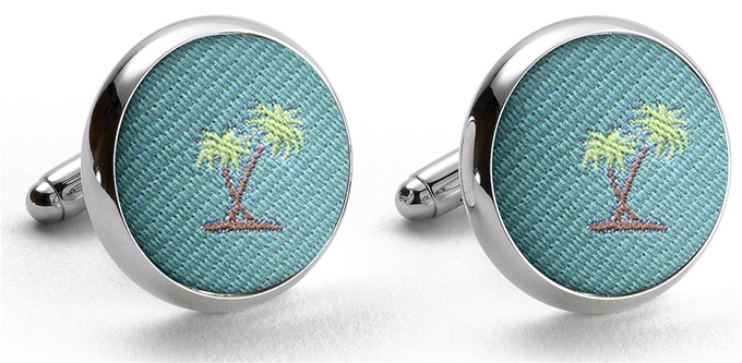 Pedigree Palm Trees: Cufflinks - Aqua