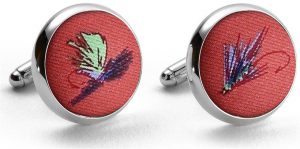 Hooked on Flies: Cufflinks - Coral