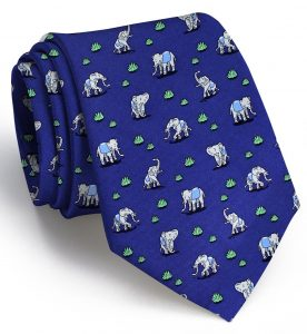 Elephant Club Med: Tie - Navy with Blue