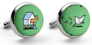 Fox in the Hen House: Cufflinks - Green