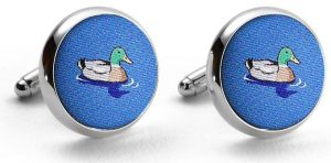 Downward Duck: Cufflinks - Blue