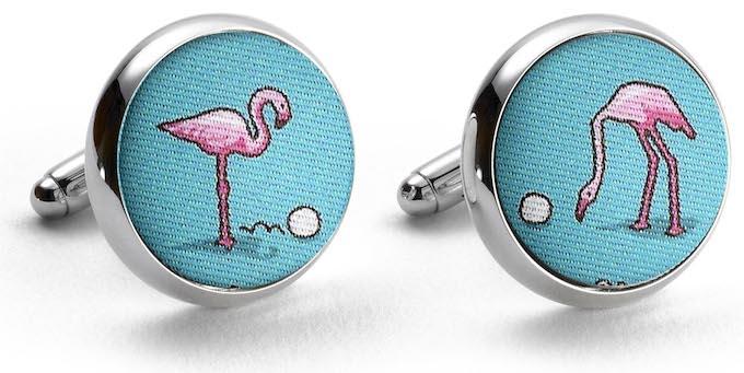 Flamingo Fairway: Cufflinks - Turquoise