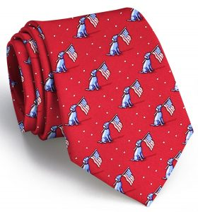 Dogs Love America: Tie - Red with Blue