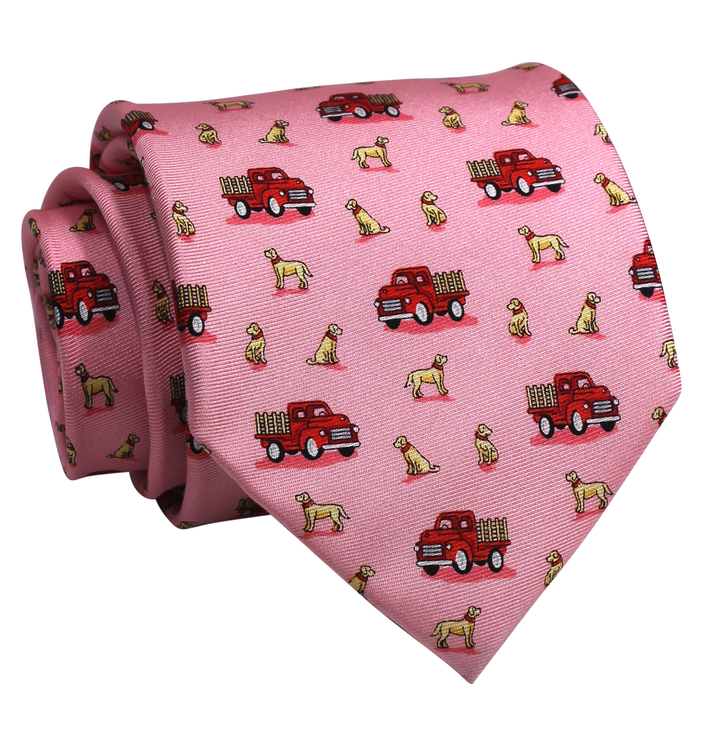 Dogs Love Trucks: Tie - Pink