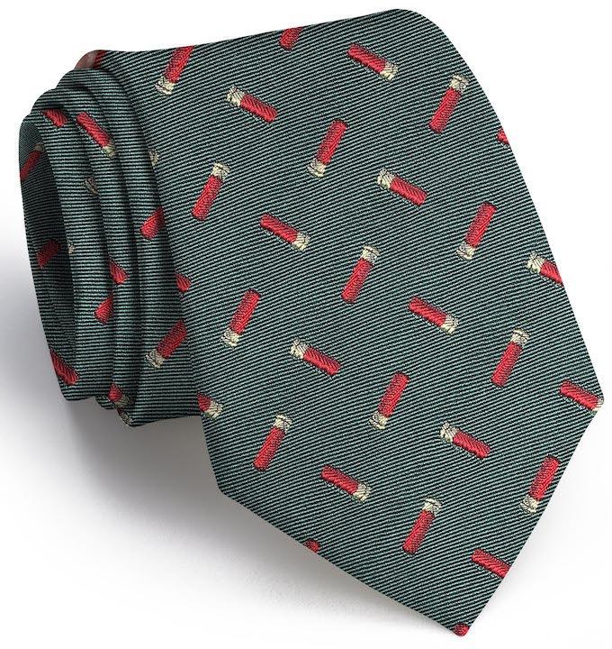 Shotgun Shell English Woven Pedigree: Tie - Green