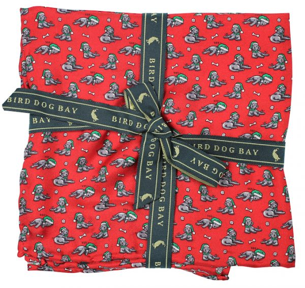 Santa Paws: Pocket Square - Red with Black