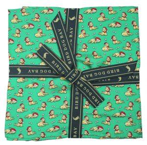 Santa Paws: Pocket Square - Green with Yellow