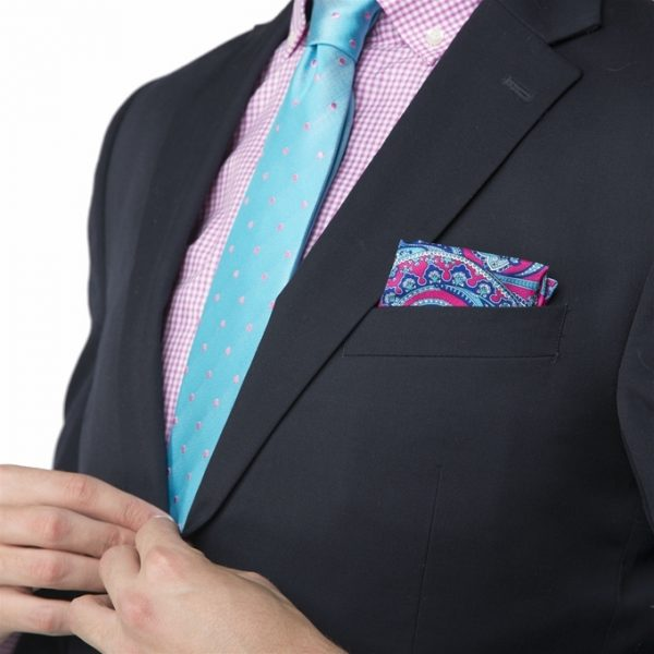 Soaring Stags: Pocket Square - Blue