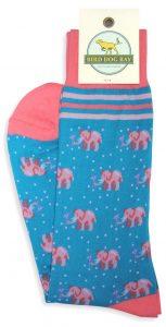 Pink Elephants: Socks - Turquoise