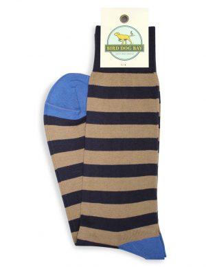 Last Call Stripe: Socks - Navy/Khaki